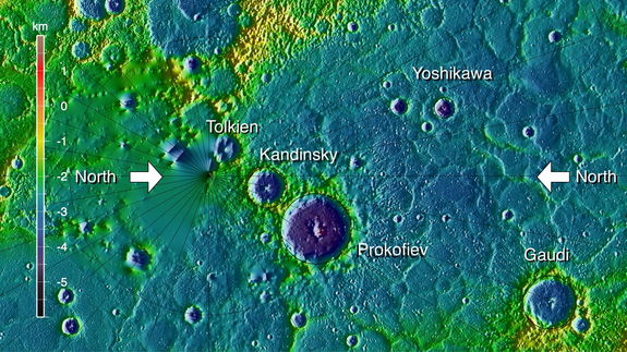 Topographic View of Northern Mercury