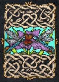 Celtic knot work and dragonflies Art Work by Marilyn Mihm Suchan ©