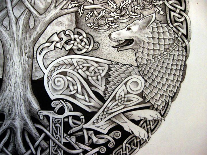celtic-tree-n-wolf-tattoo-design – Apanache