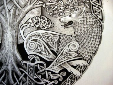 via Tattoos Hunt http://www.tattooshunt.com/index.php?s=wolf+n+tree+tattoo+design&x=0&y=0