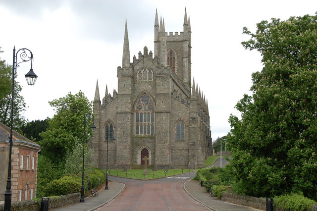 Down Cathedral,  in the town of Downpatrick in Northern Ireland. It stands on Cathedral Hill overlooking the town.