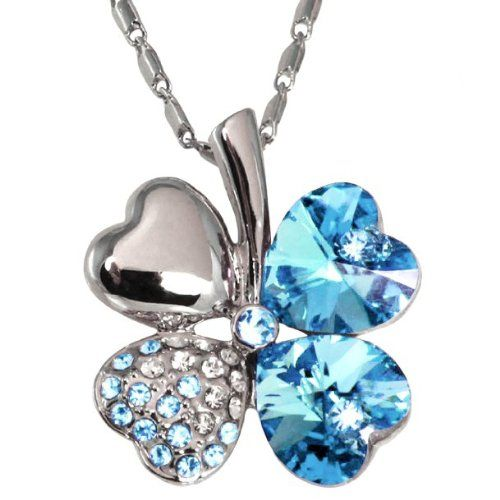 Four Leaf Clover Set with heart shaped Swarovski Elements crystals and 23 gradual color Czech rhinestones Rhodium Plated