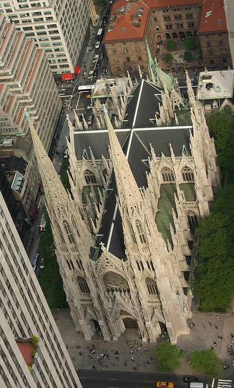 The neo-gothic St Patrick's Cathedral in New York City, as seen from Rockefeller Center