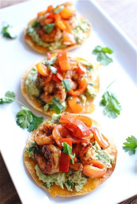 Shrimp (prawn) and Guacamole Tostadas