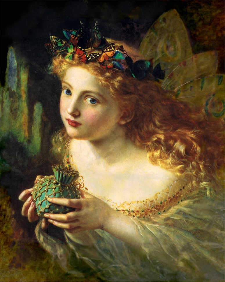 A portrait of a fairy, by Sophie Anderson (1869). The title of the painting is Take the Fair Face of Woman, and Gently Suspending, With Butterflies, Flowers, and Jewels Attending, Thus Your Fairy is Made of Most Beautiful Things - purportedly from a poem by Charles Ede.